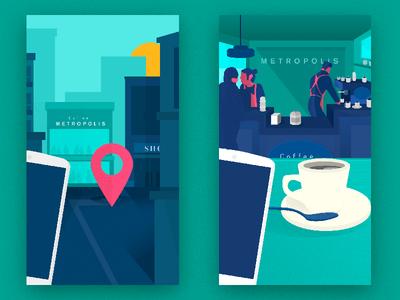 """W"" iphone illustration application mobile app ios flat ui"