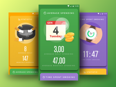 Cigs Counter APP counter ui cigs mobile android interface concept app
