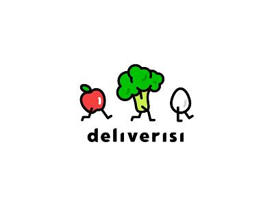 Deliverisi food healthy salud health color vegetal fruta vegetable fruit logo