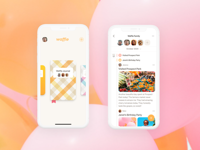 Waffle App Screens graphic design graphics social media mockups minimal icon design product design colorful bright journal ux vector ui illustration design branding animation logo brand identity startup