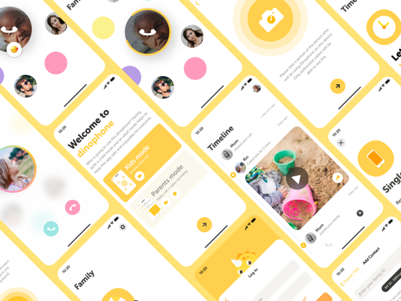 Dinophone - Mobile App UI illustration design family ios dinosaur yellow playful kids video call mobile app ux ui