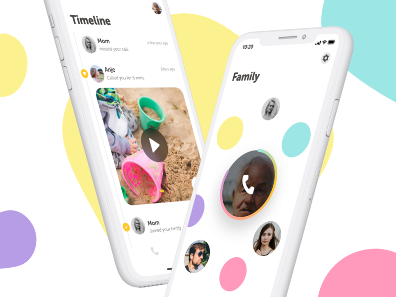 Dinophone - Mobile App UI minimal clean uiux family phone call kids illustration branding mobile design app ux ui