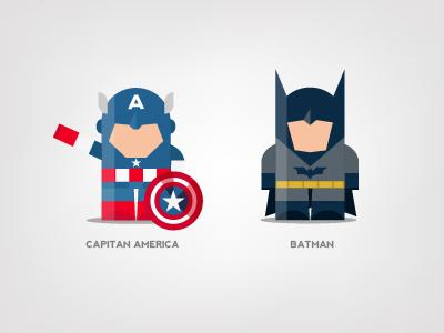 Mini Superheroes: Capitan America, Batman capitan america batman brohouse character design digital art illustration the avengers characters horia oane