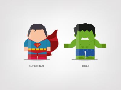 Mini Superheroes: Superman, Hulk superman hulk brohouse character design digital art illustration the avengers characters horia oane