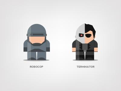 Mini Superheroes: Robocop, Terminator robocop terminator brohouse character design digital art illustration the avengers characters horia oane