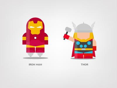Mini Superheroes: Iron Man, Thor iron man thor brohouse character design digital art illustration the avengers characters horia oane