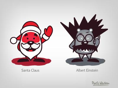Pixel's Wisdom_3 santa claus albert einstein pixel brouhouse illustrator comic