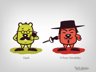 Pixel's Wisdom_4 pixel wisdom vendeta geek brohouse v illustrator vector design campaign characters facebook