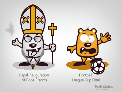 Pixel's Wisdom_5 pope inauguration footbal league cup final brohouse pixel illustration vector characters