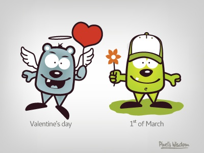 Pixel's Wisdom_8 valentines day march pixel brohouse wisdom illustrator funny characters