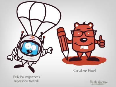 Pixel's Wisdom_9 pixels wisdom brohouse characters illustrator creative quote felix baumgartner supersonic firefall colours
