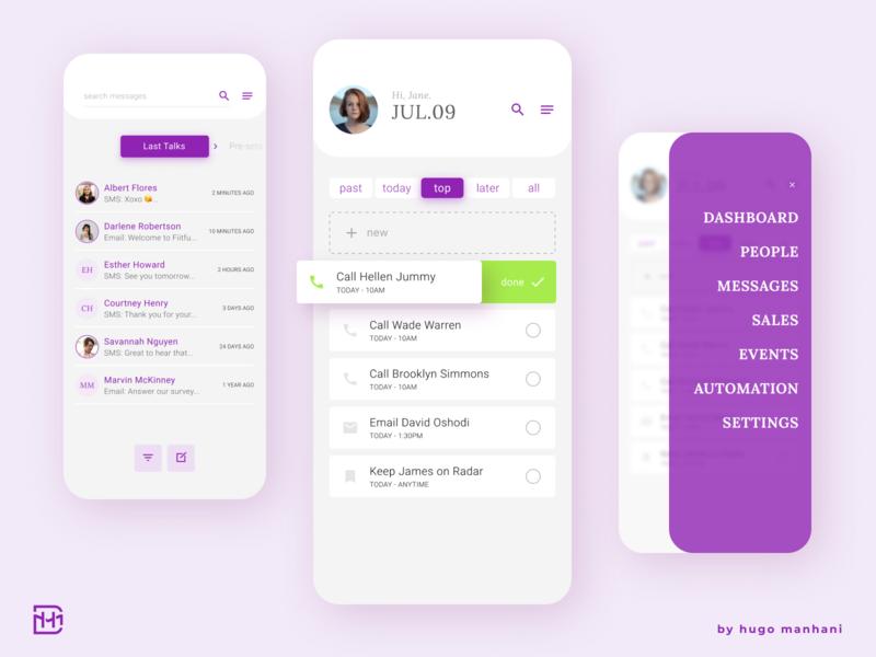UX UI - CRM Mobile App sliding dashboard ui menu chat tasks management app mobile management tool mobile app mobile ui ui  ux ux ui app crm