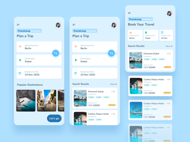 Travel App UI tarvel user app interface ui flat colorful design