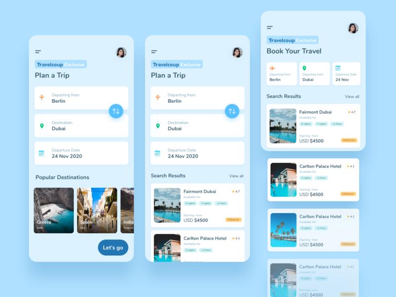 Travel App UI tarvel user app interface ui flat colorful design