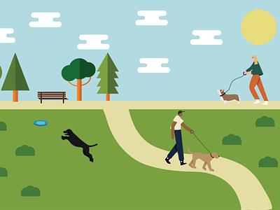 Dog Park Flat Illustration design vector graphic design dog park dog flat design illustrator