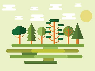 Flat Landscape nature landscape flat design graphic design illustrator illustration design