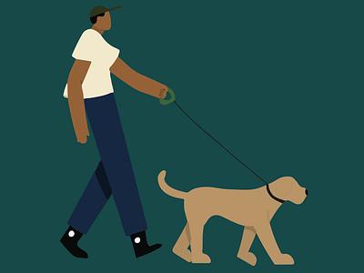 Man Walking walking dog illustrator dogs walking design illustration