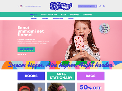 Rebel Girls shopify branding ux website web ui design illustration