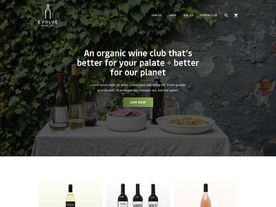 Evolve Wine Concept web design website design concept shopify branding ux website ui web design