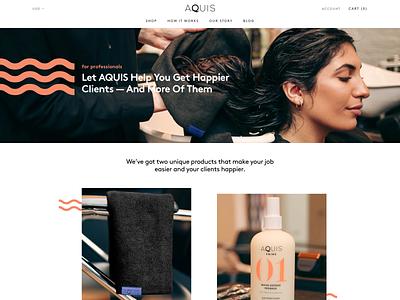 Aquis shopify store website design web design shopify website web ux ui design