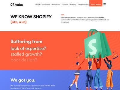 Tako Agency Website illustration branding shopify website web ui ux design