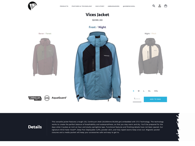 Homeschool Outerwear Product Page website web ux ui design