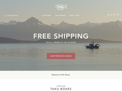 Taku Store Homepage branding website web ui ux design