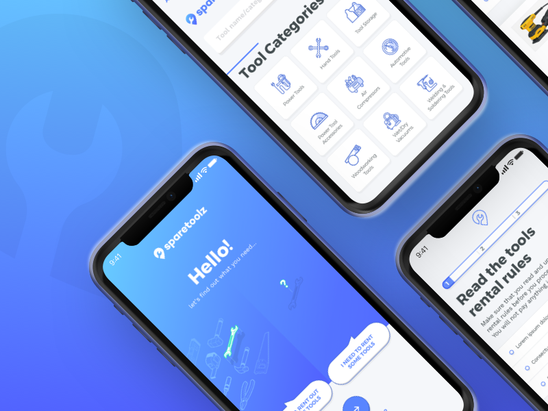 Sparetoolz - Peer-to-Peer Neighborhood Tool Rental App- logo icon web app branding ui ux design