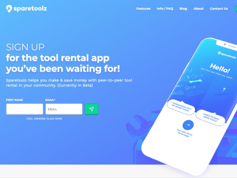 Sparetoolz - Homepage shopify ui branding icon website ux web design