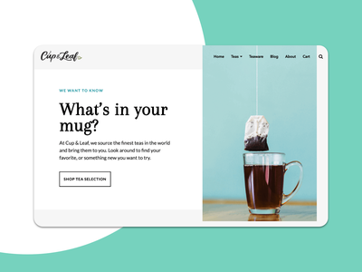 Cup and Leaf Tea ui shopify branding website web design