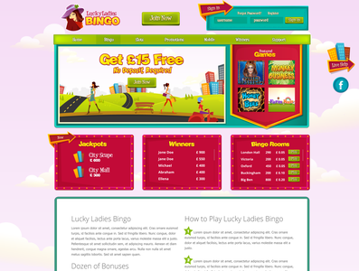 Lucky Ladies Bingo website design