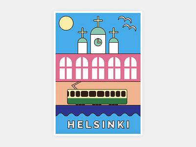 Greetings from Helsinki postcard finland helsinki colorful illustration graphic design