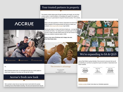 Newsletter for Accrue Real Estate email campaign real estate newsletter