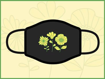 Face mask for Summer 2020 vector flowers illustration face mask