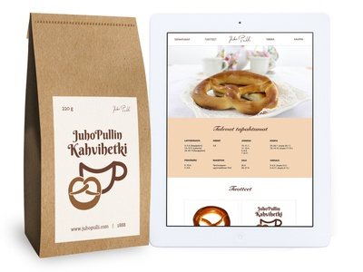 Logo, packaging and web design for JuhoPulli coffee graphic design web design logo packaging pretzels coffee