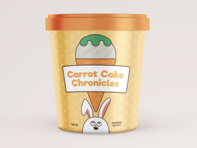 Carrot Cake Ice Cream Packaging food ice cream bunny carrot cake packaging colorful illustration graphic design dribbbleweeklywarmup