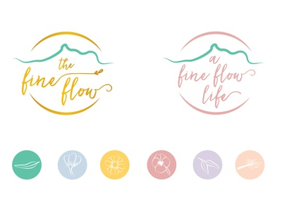 Logos and icons for The Fine Flow icons wellness logo graphic design