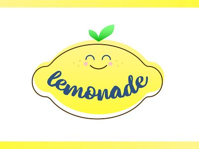 Logo for Lemonade Stand smile happy yellow fruit lemonade branding design logo colorful illustration graphic design