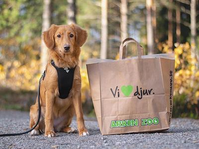 Shopping bag for Swedish pet supply retailer Arken Zoo graphic design