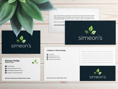 Stationery for Simeon's Florist stationery print design graphic design