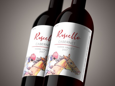 Wine bottle label for Ruscello Cabernet