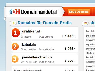 Website Domainhandel.at website screendesign interface domains domainhandel.at austria