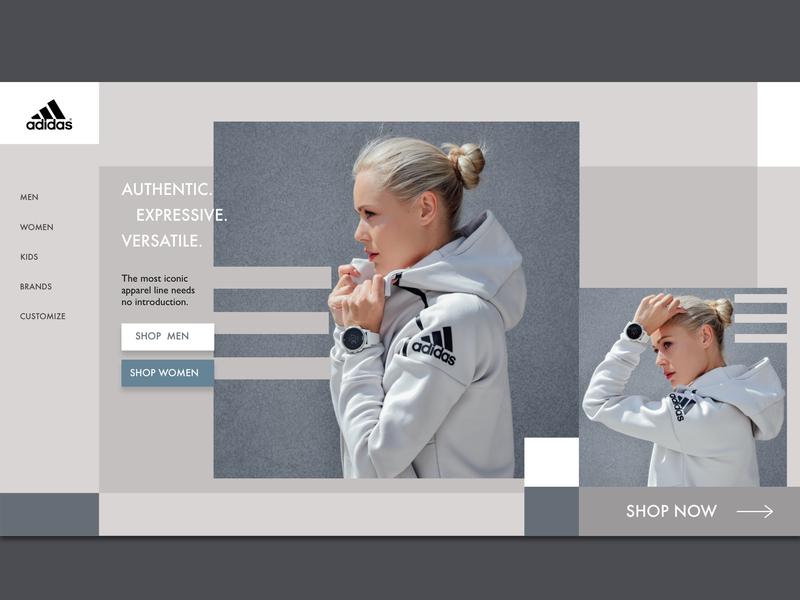 Sportswear fashion sportswear adidas type branding home illustration sidebar interface logo website web ui minimal homepage design clean bold adobexd adobe