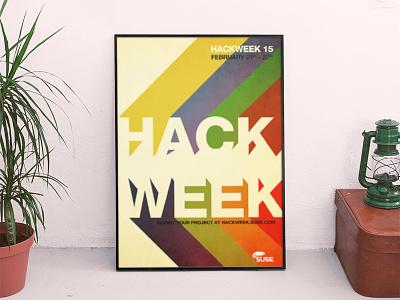 ::: HackWeek 15 ::: 70 seventies design billboard mockup hack suse linux geeks retro poster