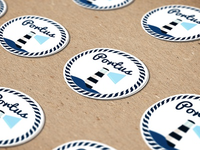 ::: Portus Stickers ::: cyan blue round circle house light lighthouse navy sail graphic design stickers