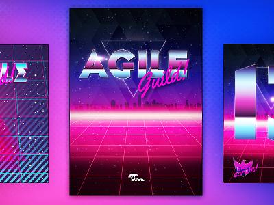 Agile Scrum cards in 80s' style vintage retro guild decks deck cards eighty eighties 80s development scrum agile