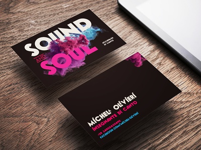 ::: Sound & Soul ::: sing accademy mood blue beauty 2018 trend violet business card smoky smoke academy school music