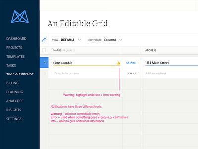 Editable Grid Notifications editable input input annotations ui patterns ux patterns table grid