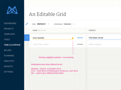 Editable Grid Notifications editable input input annotations ui patterns ux patterns table grid