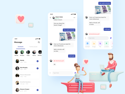 Online Learning App Concept learning management system academy course minimalist minimal clean chatting artwork product uiux illustration ui design learning platform learning english learning app learning